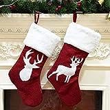 Calcetín de Navidad, bolsa de regalo para niños, calcetines de Navidad de cáñamo, alce rojo bordado, calcetín de Navidad, patrón de reno, calcetines de felpa para decoración de fiestas de Navidad en familia (2 unidades)
