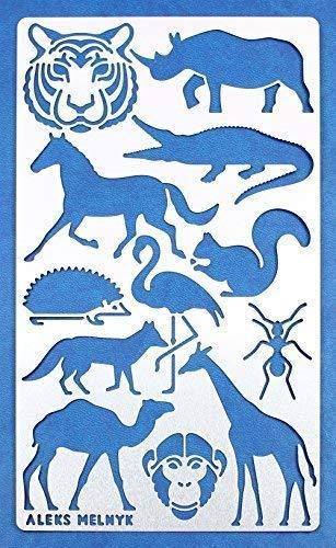 Aleks Melnyk #30 Metal Journal Stencil/Small Animals, Woodland, Tiger Head, Fox, Horse, Monkey, Flamingo, Squirrel/ 1 PCS/Template for Wood Burning, Engraving/Crafting, Art