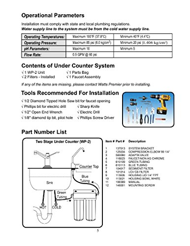 Watts premier 2-stage undercounter lead cyst & voc reducing drinking water system, wp500313 2 two-stage filtration system that is easy to install in homes and apartments removes entamoeba cryptosporidium and giardia from the water reduces simazine, atrazine, benzene, trihalomethanes (tthm), lindane, xylenes and more