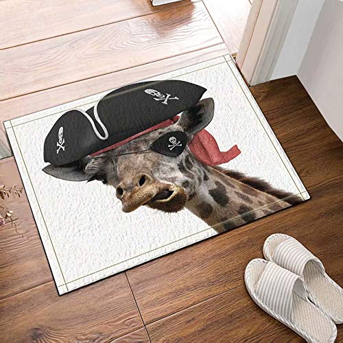 Decoración de animales con humor Jirafa con un sombrero pirata y un parche para el ojo Cómo hacer alfombras de baño de cara tonta Entradas al piso antideslizantes Alfombra de la puerta 50x80cm