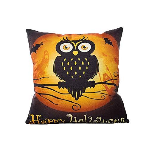 LafyHo Halloween-Kürbis-Hexe-Katzen-Eulen-Kissen-Kasten-Platz Leinen Kissenbezug Home Hotel Dekoration Pillowcase 5