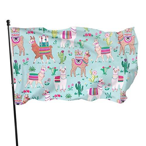 Gartenflagge mit Messingösen, Aquarellgemälde mit buntem Lama, lustige Fliegenfahne, Innendekoration