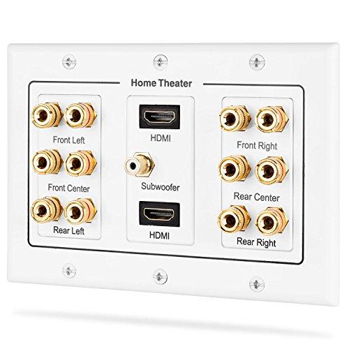 Fosmon HD8005 [3-teilig, 6.1 Surround Distribution] Anschlusstafel für Heimkino, Kupferanschlüsse, Polklemmen, Bananenstecker