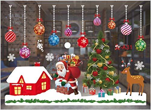 stickers vitres noel,autocollant noel fenetre,noël mural autocollant décoration,Sticker Noël pour Fenêtre Vitrine Vitre,Noël Magasin Fenêtre Décoration Stickers (A31)