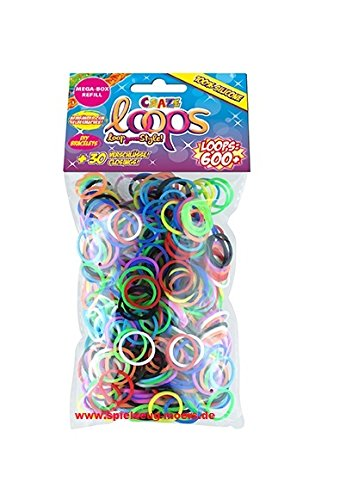 Original CRAZE LOOPS 600er Refill Pack Mix Silikon Craze-Loops -verschiedene Farben Mega US Trend - Craze Loops Loop your style (Mega - Box Refill Farbmix)