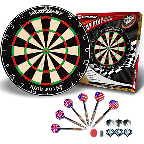 Dart Board Bristle Steel Tip Dartboard with Flights Finger Grip Wax 6 Darts WIN.MAX