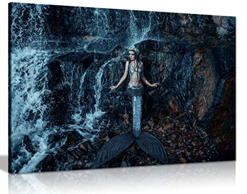 Kunstdruck auf Leinwand, Motiv: echte Meerjungfrau, Fische, Ozean, 31x20cm (12x8in)