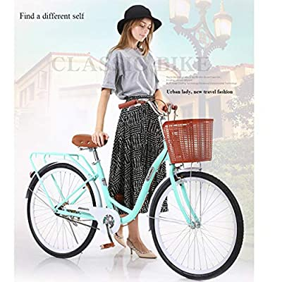 PUTEARDAT Classic Bicycle 26 inch Retro Bicycle with Assembly Tool,Beach Cruiser Bicycle High-Carbon Steel Bicycle for Women(Blue)