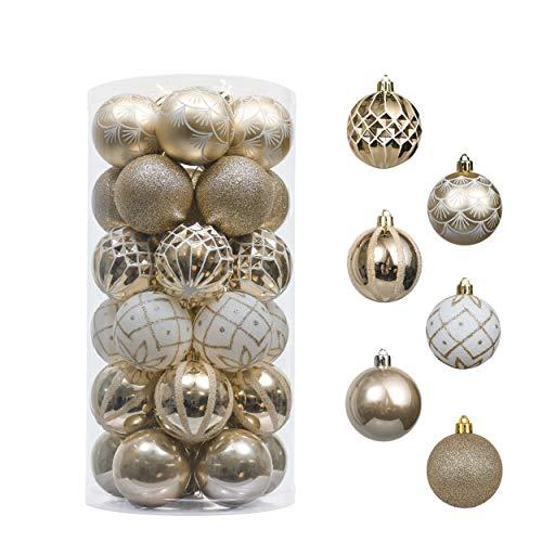 Valery Madelyn 30Pcs Bolas de Navidad de 6cm, Adornos de Navidad para Arbol, Decoración Navideños Plástico Blanco y Dorado, Regalos de Colgantes de Navidad (Elegante)