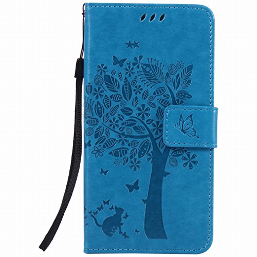 LEMORRY pour Huawei P9 Etui Gaufré Cuir Flip Pochette Mince Protecteur Magnétique Fermeture Fente Carte Soft Silicone TPU Housse Cover Coque Huawei P9, Chanceux Arbre Bleu