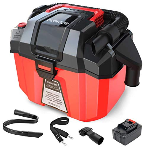 Evereze Cordless Shop Vac Wet Dry Vacuum 2 Peak HP 2.6 Gallon Lightweight Powerful Suction, 3 in 1 Portable Shop Vacuum with Blower, 2.0Ah Battery and Charger for Garage, Car, Home & Workshop -V20