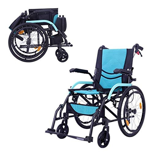 Daily Equipment Wheelchair Portable Ultra Light Aluminum Alloy with Non Pneumatic Tire Double Brake Disabled Nursing Transport Vehicle Self Propelled Small Cart Blue
