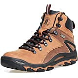ROCKROOSTER Mens Hiking Boots, Waterproof 6'' Non Slip Outdoor Shoes, Breathable, Ankle, Lightweight, Coolmax, Anti-Fatigue,(KS257 Brown, 9.5)