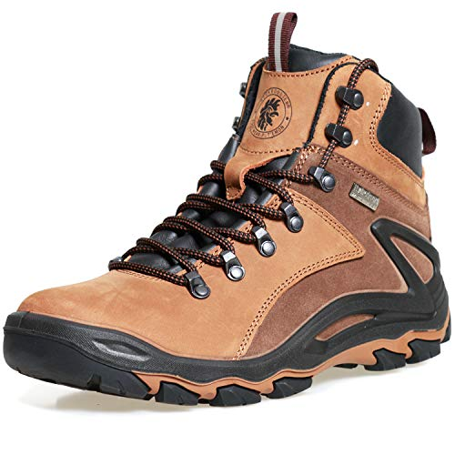 ROCKROOSTER Mens Hiking Boots, Waterproof 6'' Non Slip Outdoor Mountaineeting Shoes, Lightweight, Anti-Fatigue(KS257 Brown, 9.5)