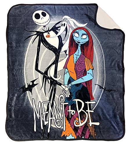 Disney Nightmare Before Christmas Moonlight Madness Sherpa Throw Blanket - Measures 50 x 60 inches, Kids Bedding Features Jack Skellington & Sally - Super Soft - (Official Disney Product)