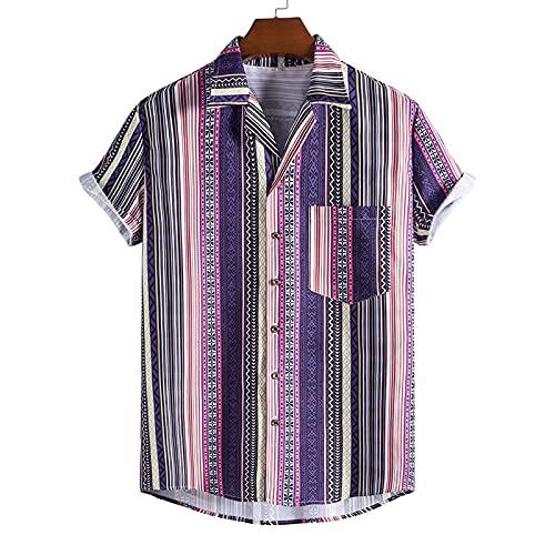 SSBZYES Camisas para Hombres Camisas De Verano De Manga Corta Tops De Rayas para Hombres Camisetas Solapa Estampado De Rayas Sueltas Camisas Informales para Jóvenes para Hombres