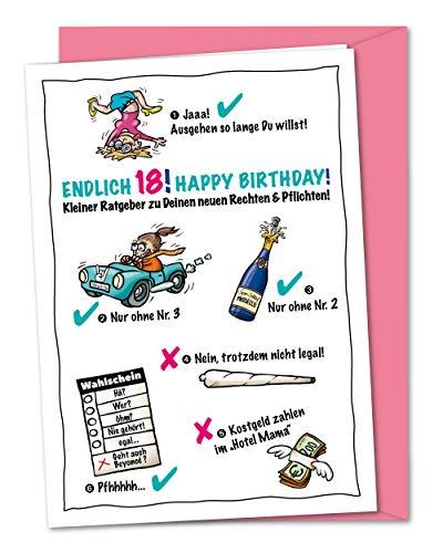 XXL Geburtstagskarte zum 18. Geburtstag - weiblich, lustig und frech - zur Volljährigkeit, Karte zum 18, zum Erwachsen werden - für Mädchen, Mädels, Töchter - inklusive Umschlag (DIN A4)