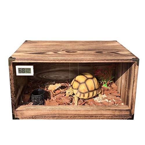 Inkubatoren Reptilienhaus Innen Mit Feuchtigkeit Und Feuchtigkeit Feeding Cabinet Turtle Incubator Eyehorn Laubfrosch Beetle Lizard Reptilien Box (Color : Brown, Size : 38 * 26 * 20.2cm)