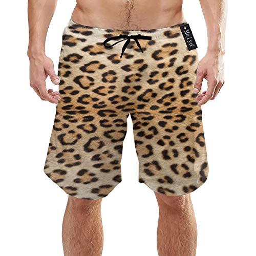 Alysai Die Haut eines Leoparden Herren Badehose Sommer Cool Quick Dry Board Shorts Badeanzug mit Seitentaschen Mesh Futter XXL