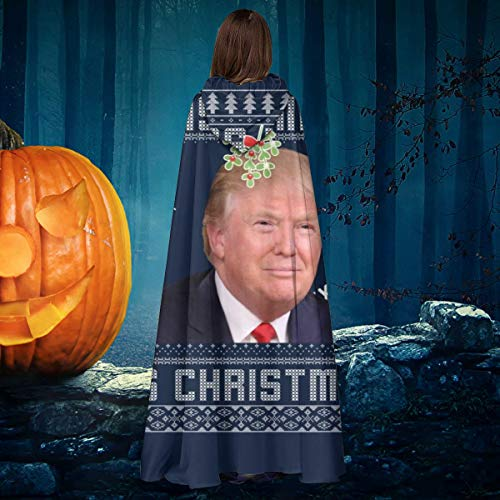 NULLYTG Donald Trump Kiss Me Its Christmas Knit Pattern - Capa de Disfraz Unisex para Halloween, Bruja, Caballero, con Capucha