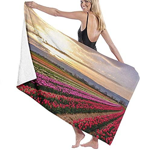 Toalla de arena, Toalla de baño, Campo de tulipanes en Provenza Francia Amanecer Cielo nublado, Secado rápido, alta absorción, Ligero y fino Toalla de baño suave, Baño de natación, Camping, Yoga, Ejer