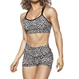 Women Fitness Outfits Sets Sport Yoga Tracksuit Bras Tops+High Waist Short Pants Sweatsuit Leopard Shorts Two Piece Outfits (White, L)