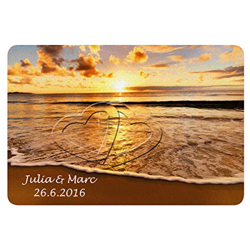 Fußmatte – Sonnenuntergang: persönliche Fussmatte mit Herz Motiv für Paare - personalisiert mit Namen und Datum – individuelle Hochzeitsgeschenke │ Hochzeitstaggeschenke │ Jahrestaggeschenke