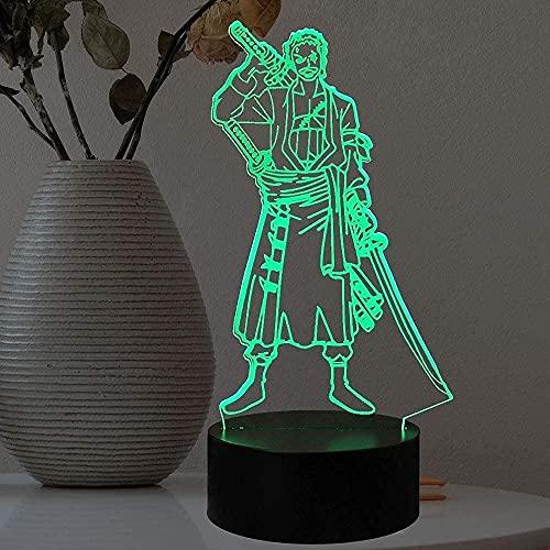 3D Anime lamp Roronoa Zoro LED Illusie Nachtlampje 16 Kleur Afstandsbediening Kids en Volwassen Verjaardag Gift…