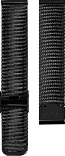 Oozoo Milanaiseband Uhrenband Armband Metallband Edelstahl Schwarz 24 MM - OA-504-24