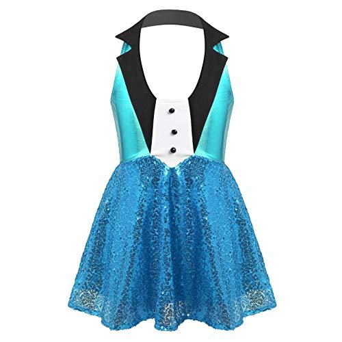 inlzdz Niñas Vestido de Jazz Moderna Hip Hop Traje con Lentejuelas Brillantes Falda Tutú Manguitas Disfraz Actuación Fiesta Carnaval 3-12 Años Azul Claro 13-14 años