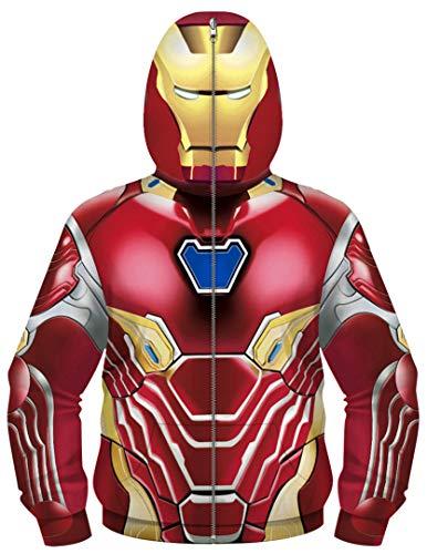 Silver Basic Chaqueta con Cremallera para Niños Superhéroe Capitán América Iron Man Disfraz de HalloweenXS,08Traje de Iron Man-3…