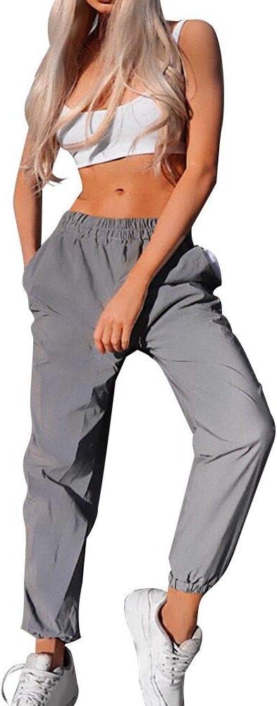 AchidistviQ - Pantalones Reflectantes para Mujer, Estilo Informal, para Correr, Bailar, hipopótamo, Cintura elástica, Pantalones de Moda para Mujer, Reflectantes de 9 Minutos, poliéster, Gris, Medium