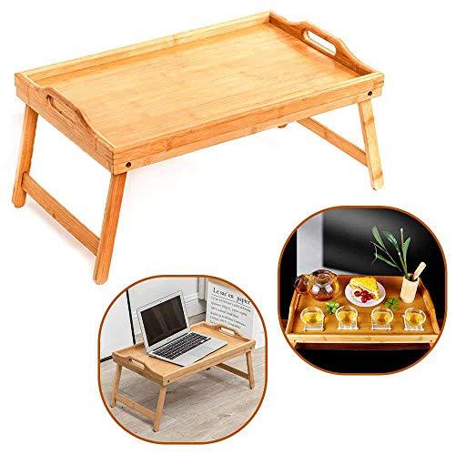 Cama Bandeja Mesa Con / Plegable Piernas - 50 x 30 x 22cm, Madera de Bambú Desayuno Regazo Bandeja Mesa Portátil Muebles