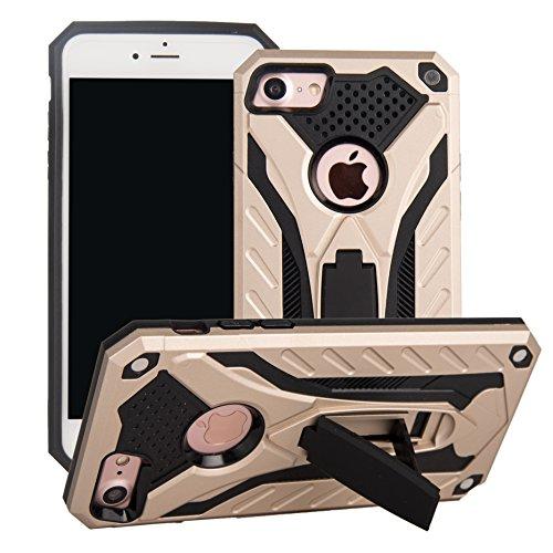 BestST Diseñado para Funda Apple iPhone 7G/ iPhone 8G, Híbrida Doble Capa Teléfono Móvil Carcasa Antigolpes Funda Rugged Protección Resistente Impactos Carcasa con Soporte para,Oro