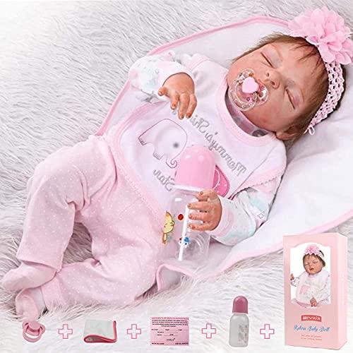 ZIYIUI 23 Pulgadas 57cm Realista Reborn Bebé Muñecas bebé Reborn niña Cuerpo Silicona Renacer Recién Nacido Dormido Reborn Toddlers Regalo Juguetes Muñecos Bebé