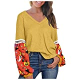 QIZHI - Sudadera para mujer, color liso, manga larga, cuello en V, estilo casual, manga larga, estampado amarillo XXX-Large