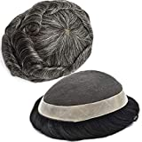 LYRICAL HAIR French Lace Mens Toupee Hairpiece Poly Coating NPU Skin Around Hair Replacement System Breathable Durable Wigs for Men (7'x9', #1B50 Off Black+50% Gray-120% Med light to Medium Density)
