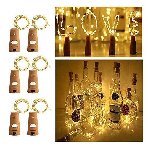 Luces de botellas de vino con corcho para fiesta en el festival de bodas de Halloween, 6,5 piesblanco cálido, paquete de 6)