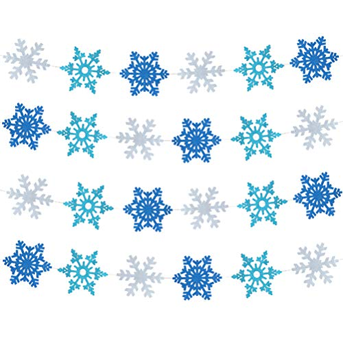 Snowflake Paper Garland Circle Banner Hanging Decoration for Winter Frozen Theme Christmas Day Birtyday Party Decoration,4.7in in Diameter(silver glitter,navy blue and turquoise blue glitter,2pc)