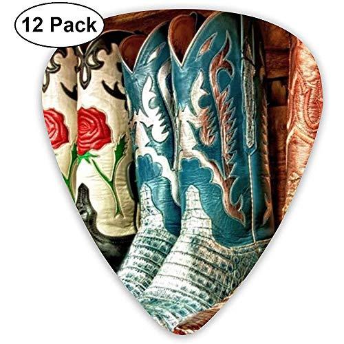 Cowboy Laarzen Kleurrijke Gitaar Pick Set Gitaar Bas Mandolin Ukulele 0.46mm 0.71mm 0.96mm 12 Pack Gitaar Plectrums Houder