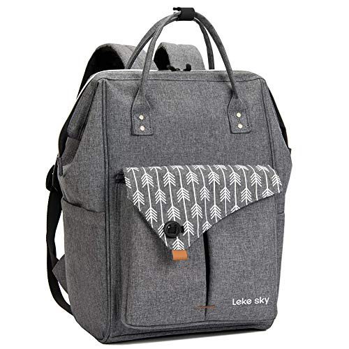 Lekesky Laptop Backpack Women 15.6 Inch Travel Backpack for Work Business College School, Stylish and Water Repellent, Grey