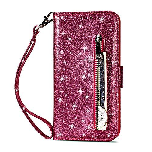 Artfeel Reißverschluss Brieftasche Hülle für Huawei Mate 20 Pro, Bling Glitzer Leder Handyhülle mit Kartenhalter,Flip Magnetverschluss Stand Schutzhülle mit Tasche und Handschlaufe-Rose Rot
