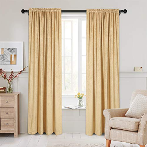 Luxury Double-Sided Chenille Window Curtains for Living Room Gold Room Curtains for Bedroom, Rod Pocket, 52inchX96inch, 2 Panels