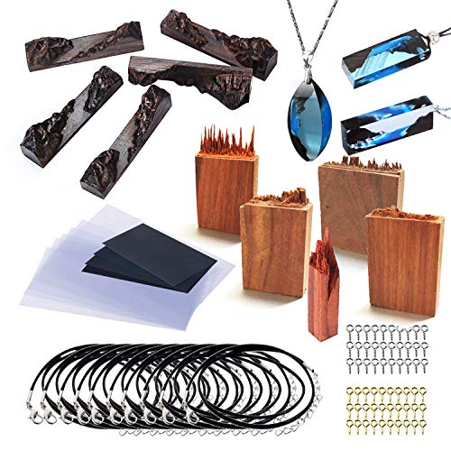 Woohome 27 Stück Holzteile für Silikonform Gießform, Ebenholz Sandelholz für DIY Holz Harz Epoxid Anhänger Kette Schmuck Armband Ring Schmuck Handwerk DIY