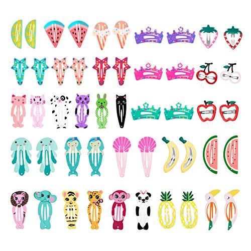 HBF Multicolor 50 Clips Pelo Niña Metal Pinzas Pelo Bebe Niña Patrón De Dibujos Animados Y Fruta Horquillas De Pelo Infantiles