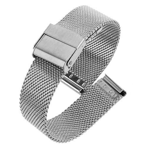 Correa De Reloj De Metal Correas De Pulsera De Acero Inoxidable De Malla Correa De Reloj De 15 Mm / 16 Mm / 18 Mm Para Hombres Mujeres Parejas,Silver-16mm