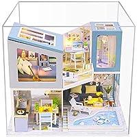 ドールハウス木製小型家具セット、LEDライト付き、プールヴィラモデル、クリエイティブなおもちゃ、男の子と女の子のために