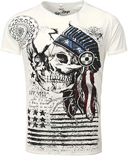Key Largo T-Shirt Indian Skull weiß Off White M