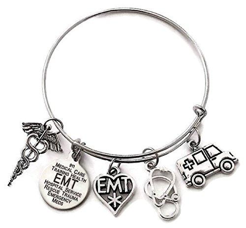 EMT Bracelet EMT Jewelry Emergency Medical Technician Bracelet Ambulance Stethoscope Charm EMT Gift Medical Caduceus Medical Symbol Charm EMT Wire Bracelet Bangle Bracelet