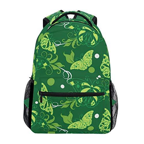 Backpack Mariposa Verde Círculo Blanco Ligero Escuela Informal Viaje Universitario Bolso De Hombro para Estudiantes Mochila Elegante Regalo Duradero Mochila Única Ligero Impreso